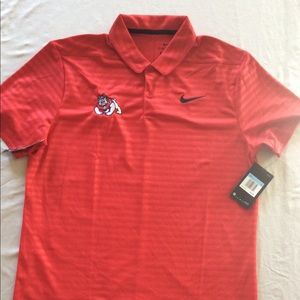 Red Polo Shirt with Fresno State Bulldog